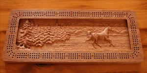 Galloping Horse Cribbage Board