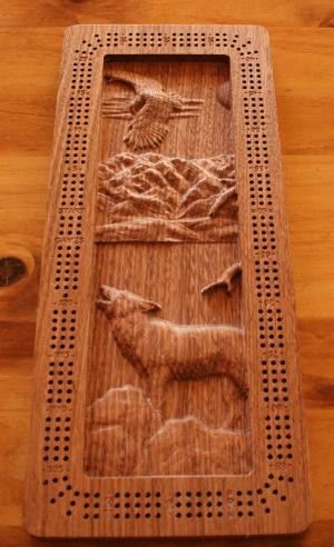 Howling Wolf and Eagle Cribbage Board