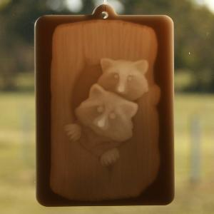 Window lithophane - raccoons