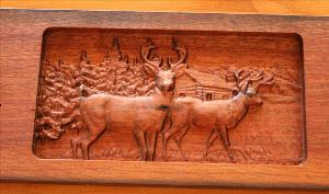 5 Hook Coat Hook Board - Deer Scene