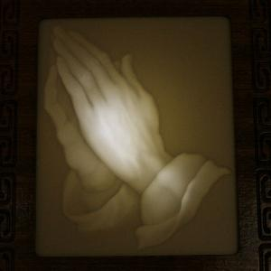 """Hands in prayer"" lithophane"