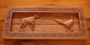 Bird Dog and Pheasant Cribbage Board